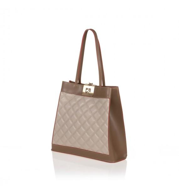 FRNC 12101 τσάντα χειρός - ώμου, μπισκοτί - μπεζ