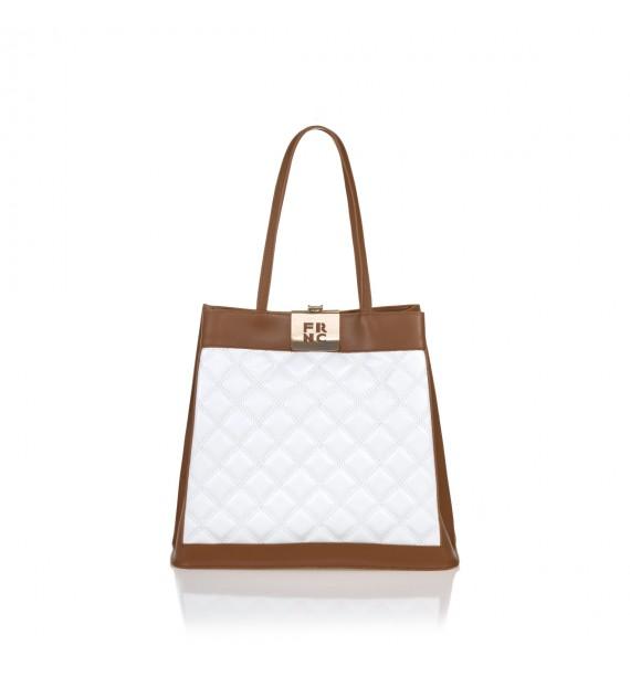 FRNC 12101 τσάντα χειρός - ώμου, ταμπά -λευκό