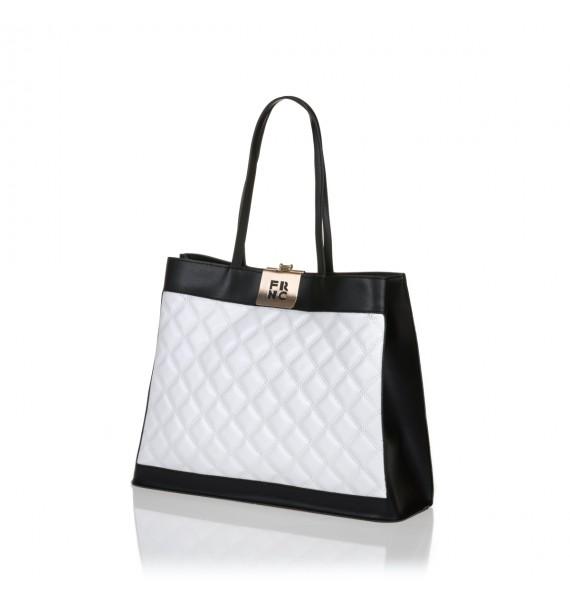 FRNC 12102 τσάντα χειρός - ώμου, μαύρο - λευκό