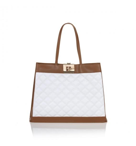 FRNC 12102 τσάντα χειρός - ώμου, ταμπά - λευκό