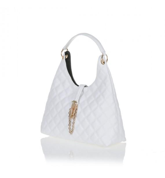 FRNC 12107 τσάντα ώμου καπιτονέ, λευκό