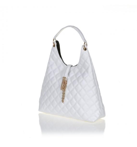 FRNC 12108 τσάντα ώμου καπιτονέ, λευκό