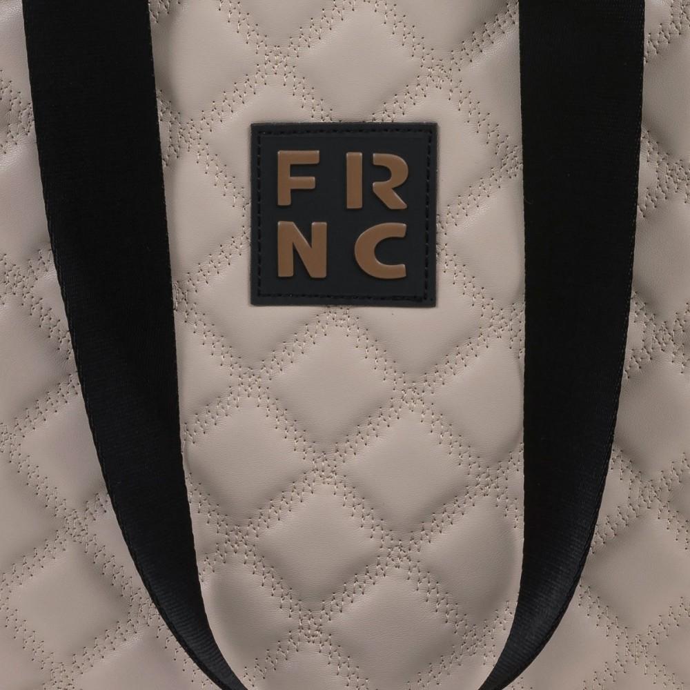FRNC 1296 στρογγυλή τσάντα ώμου - χειρός, μπεζ