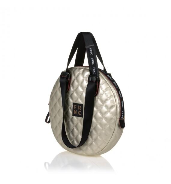 FRNC 1296 στρογγυλή τσάντα ώμου - χειρός, πλατίνα