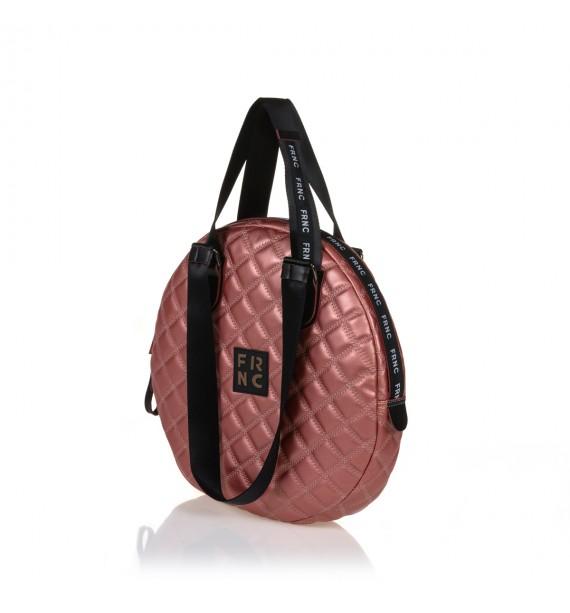 FRNC 1296 στρογγυλή τσάντα ώμου - χειρός, κόκκινο περλέ