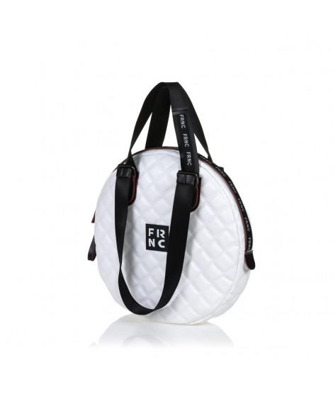 FRNC 1296 στρογγυλή τσάντα ώμου - χειρός, λευκό