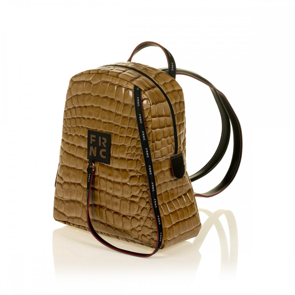 FRNC 1411 backpack croco, κάραμελ