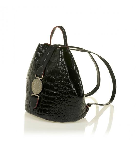 FRNC 1413 backpack πουγκί croco, μαύρο
