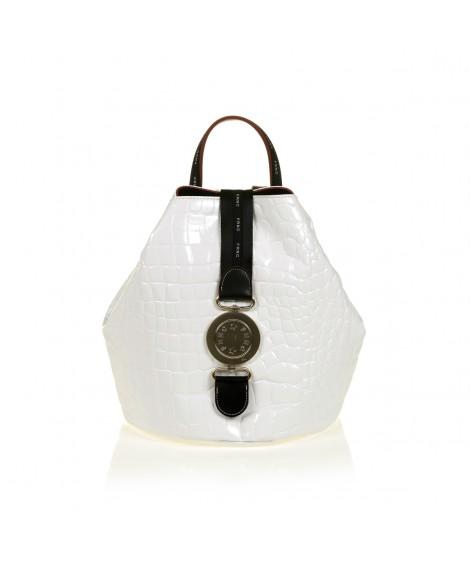 FRNC 1413 backpack πουγκί croco, λευκό