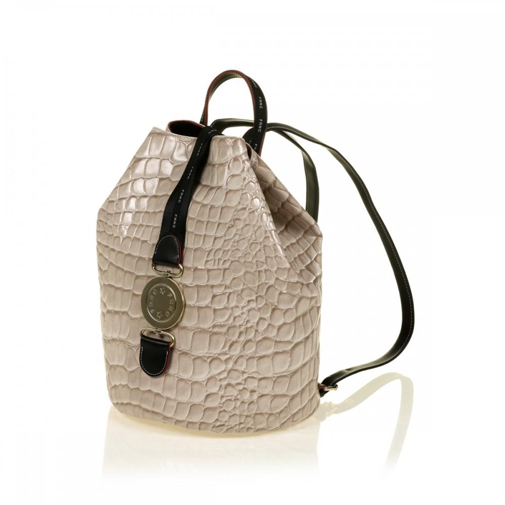 FRNC 1414 backpack πουγκί croco, μπεζ