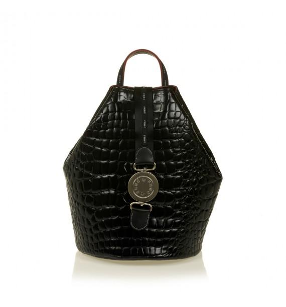 FRNC 1414 backpack πουγκί croco, μαύρο