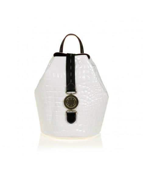 FRNC 1414 backpack πουγκί croco, λευκό