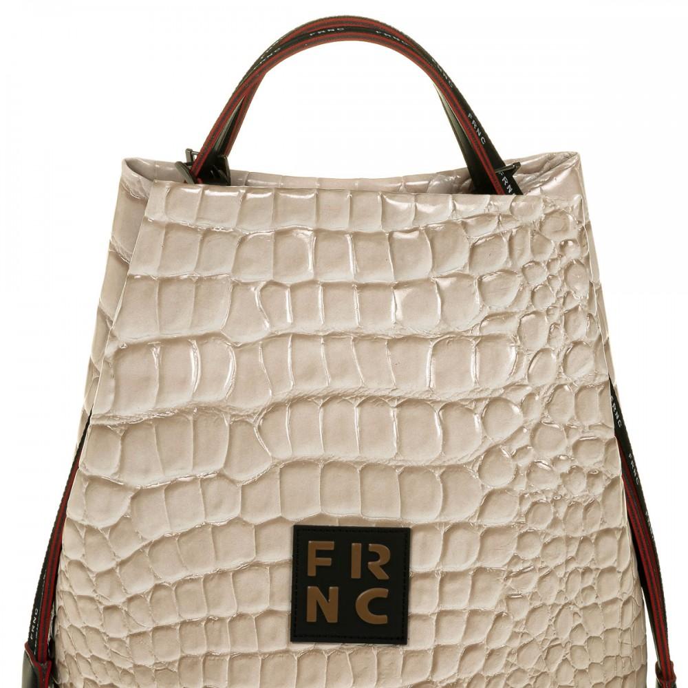 FRNC 1420 croco τσάντα χειρός - ώμου, μπεζ