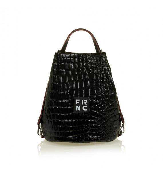 FRNC 1420 croco τσάντα χειρός - ώμου, μαύρο