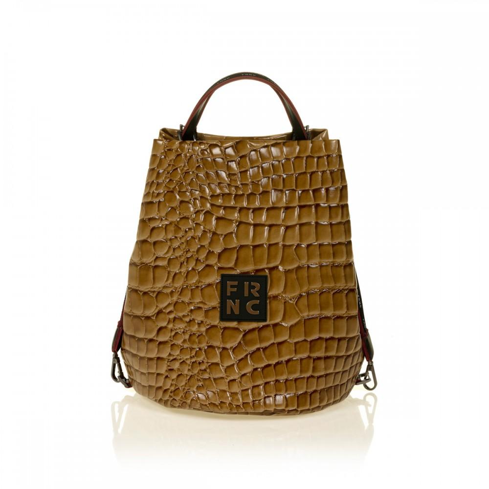 FRNC 1420 croco τσάντα χειρός - ώμου, κάραμελ