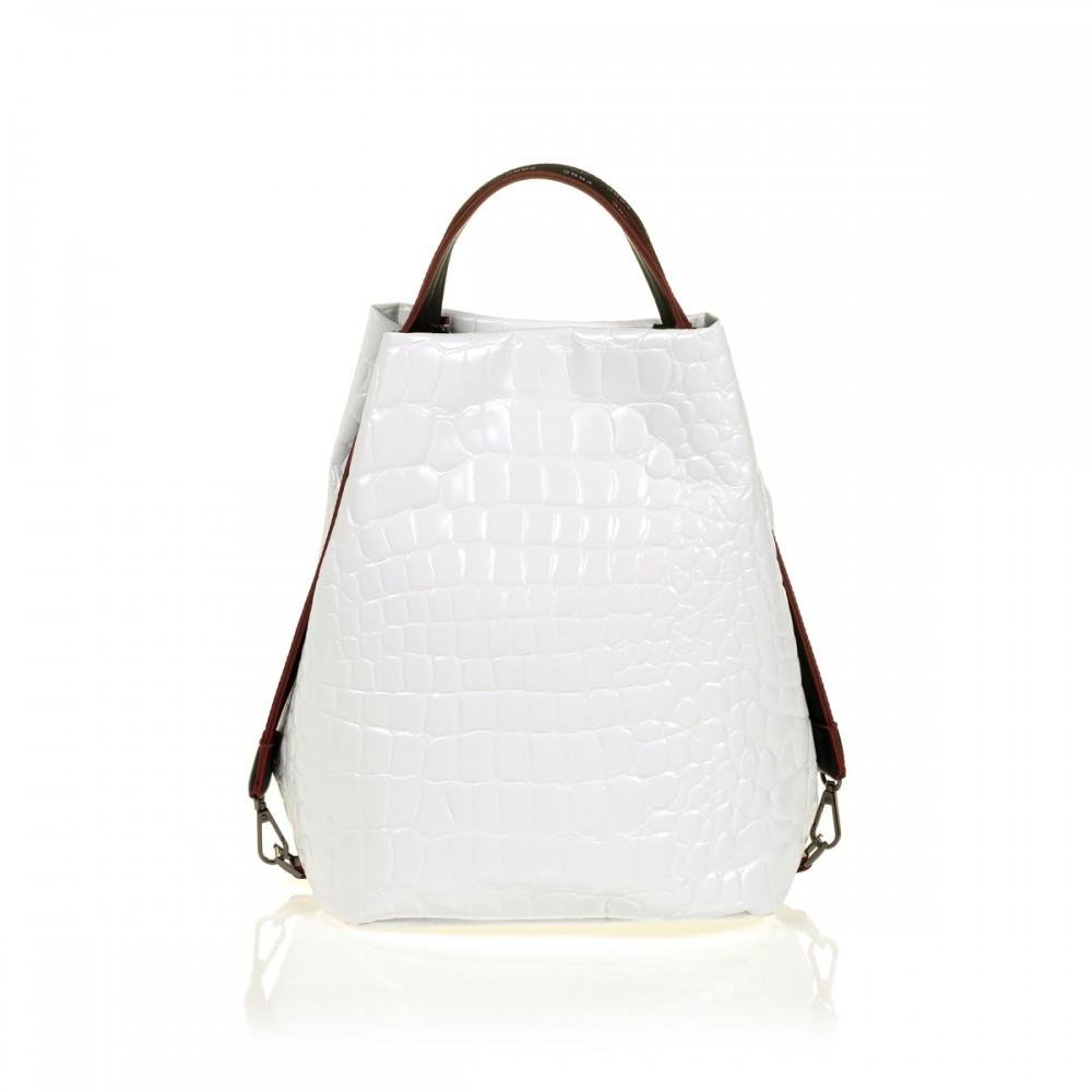 FRNC 1420 croco τσάντα χειρός - ώμου, λευκό