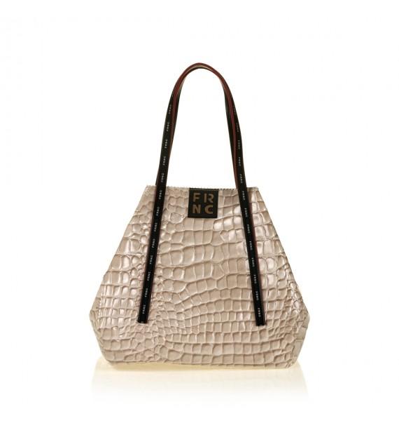 FRNC 1422 τσάντα shopping ώμου croco, μπεζ