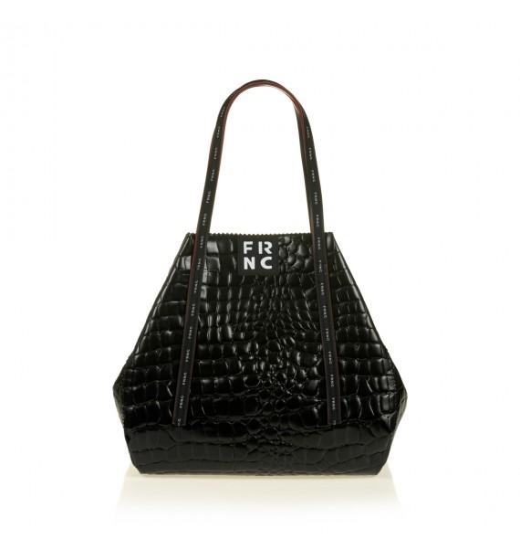 FRNC 1422 τσάντα shopping ώμου croco, μαύρο
