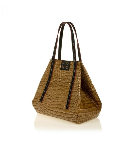 FRNC 1422 τσάντα shopping ώμου croco, κάραμελ