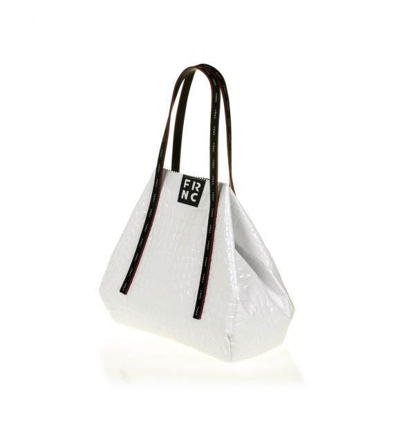 FRNC 1422 τσάντα shopping ώμου croco, λευκό