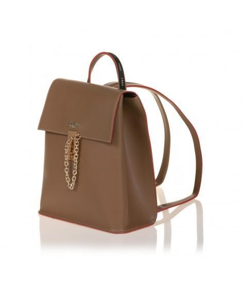 FRNC 1531 backpack με καπάκι και μεταλλική αγκράφα με αλυσίδα, μπισκοτί
