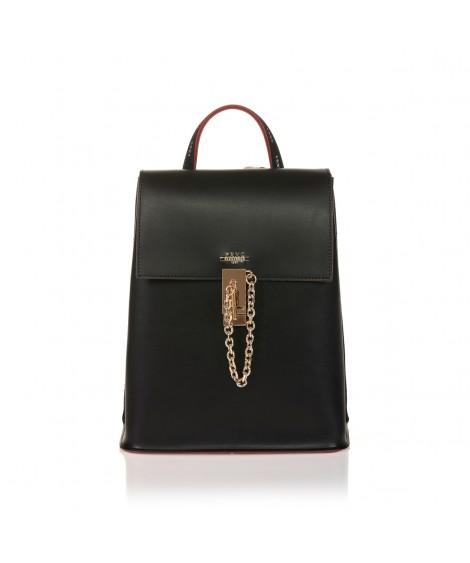 FRNC 1531 backpack με καπάκι και μεταλλική αγκράφα με αλυσίδα, μαύρο