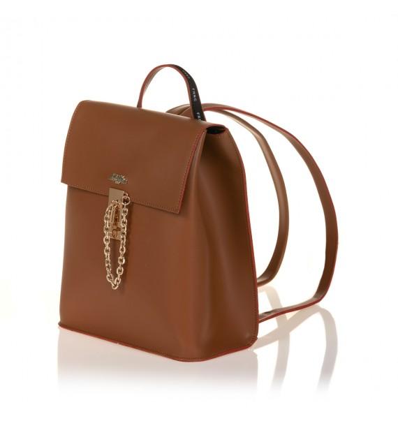 FRNC 1531 backpack με καπάκι και μεταλλική αγκράφα με αλυσίδα, ταμπά