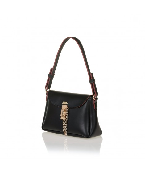 FRNC 1532 τσάντα ώμου - χιαστί με καπάκι και μεταλλική αγκράφα με αλυσίδα, μαύρο