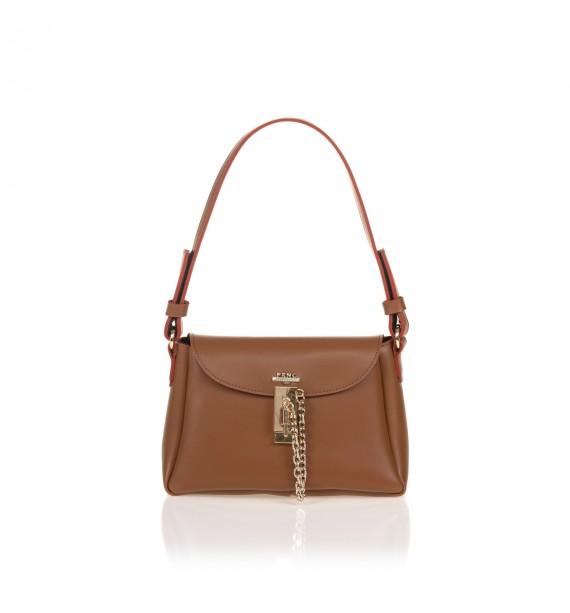 FRNC 1532 τσάντα ώμου - χιαστί με καπάκι και μεταλλική αγκράφα με αλυσίδα, ταμπά