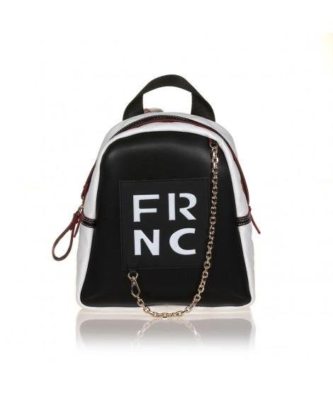 FRNC 900 backpack με διακοσμητική αλυσίδα, μαύρο - λευκό