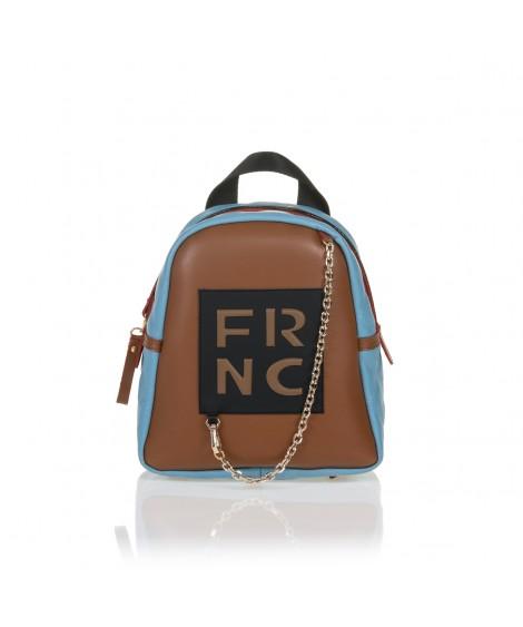 FRNC 900 backpack με διακοσμητική αλυσίδα, ταμπά - γαλάζιο