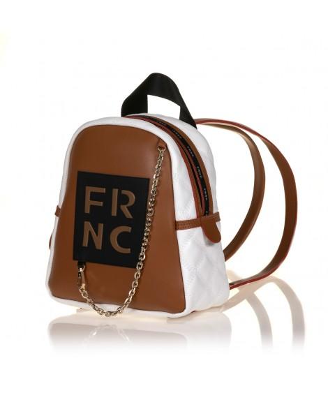 FRNC 900 backpack με διακοσμητική αλυσίδα, ταμπά - λευκό