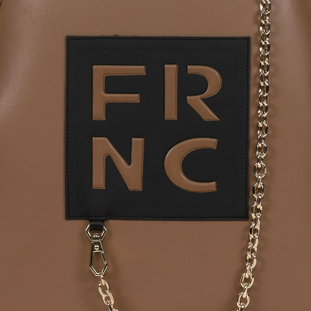 FRNC 901 backpack με διακοσμητική αλυσίδα, μπισκοτί - μπεζ