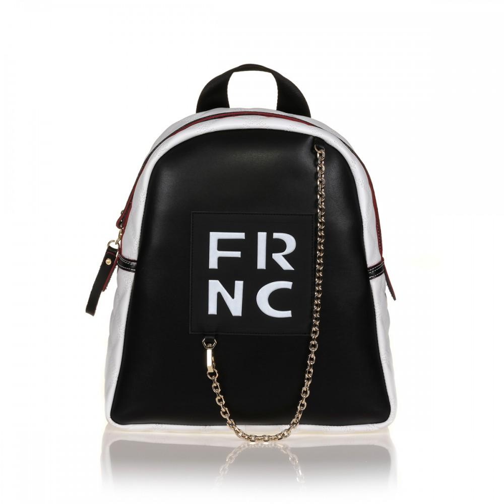 FRNC 901 backpack με διακοσμητική αλυσίδα, μαύρο - λευκό