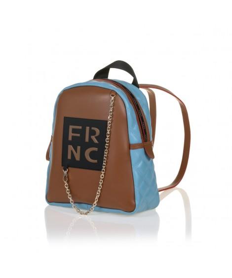 FRNC 901 backpack με διακοσμητική αλυσίδα, ταμπά - γαλάζιο