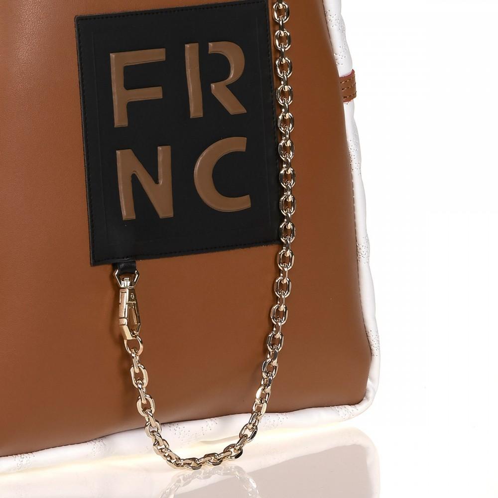 FRNC 901 backpack με διακοσμητική αλυσίδα, ταμπά -λευκό