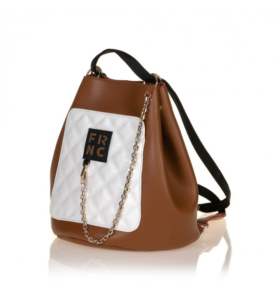FRNC 902 πολυμορφικό backpack σε σχήμα πουγκί, ταμπά - λευκό