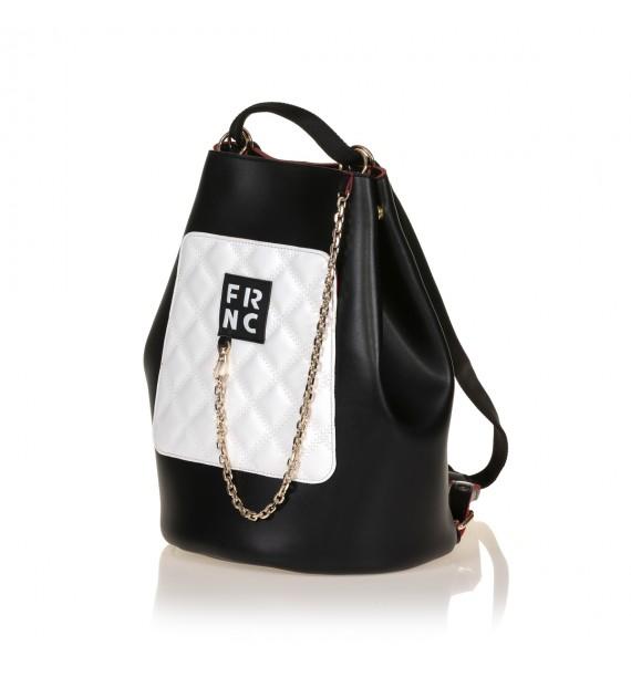 FRNC 903 πολυμορφικό backpack σε σχήμα πουγκί, μαύρο - λευκό