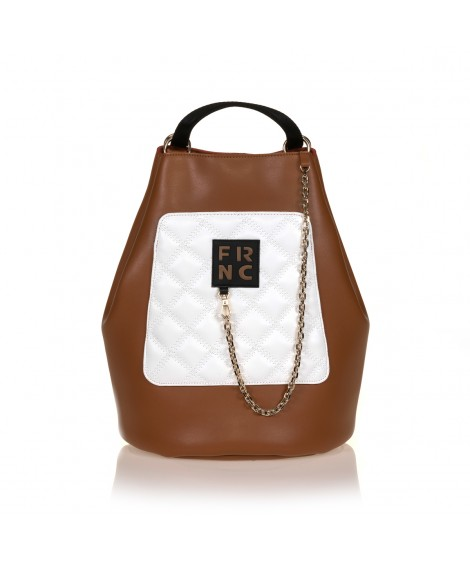 FRNC 903 πολυμορφικό backpack σε σχήμα πουγκί, ταμπά - λευκό