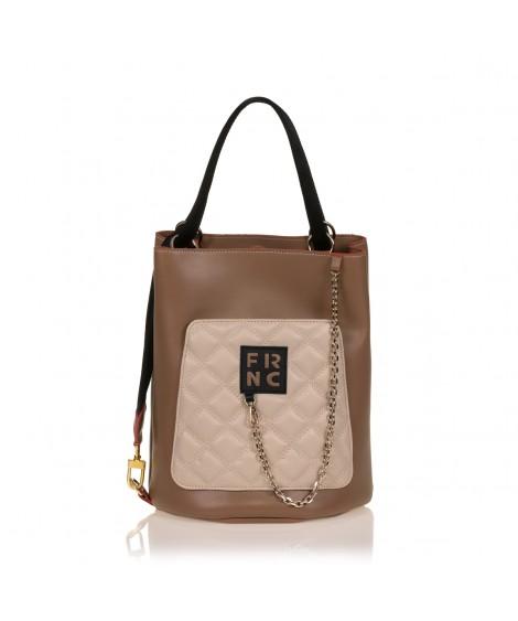 FRNC 904 πολυμορφική τσάντα χειρός σε σχήμα πουγκί, μπισκοτί - μπεζ