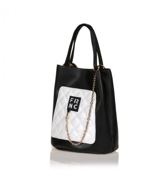 FRNC 904 πολυμορφική τσάντα χειρός σε σχήμα πουγκί, μαύρο - λευκό