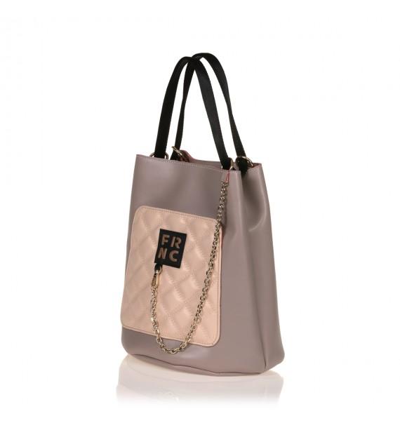 FRNC 904 πολυμορφική τσάντα χειρός σε σχήμα πουγκί,  πάγος - πούδρα