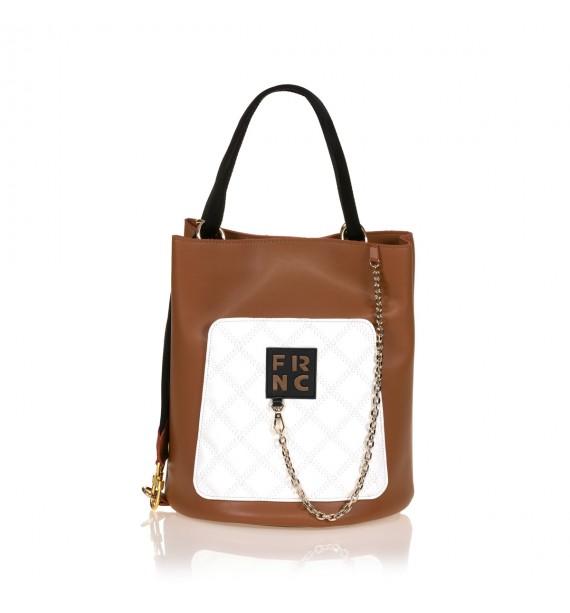 FRNC 904 πολυμορφική τσάντα χειρός σε σχήμα πουγκί, ταμπά - λευκό