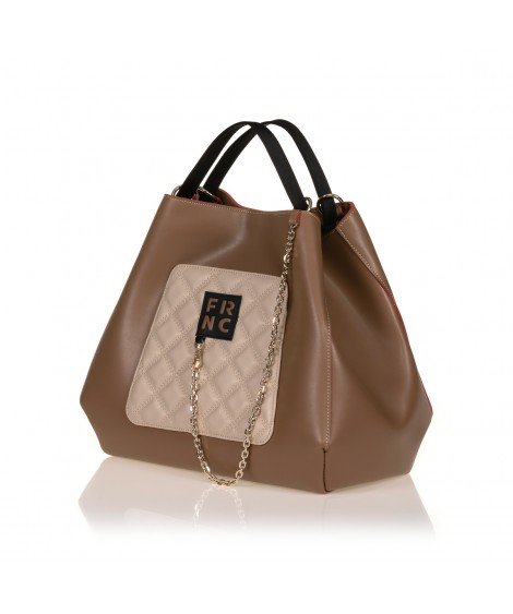 FRNC 905 τσάντα χειρός - ώμου με διακοσμητική αλυσίδα, μπισκοτί - μπεζ