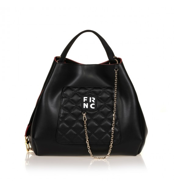 FRNC 905 τσάντα χειρός - ώμου με διακοσμητική αλυσίδα, μαύρο