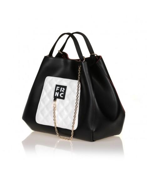 FRNC 905 τσάντα χειρός - ώμου με διακοσμητική αλυσίδα, μαύρο - λευκό