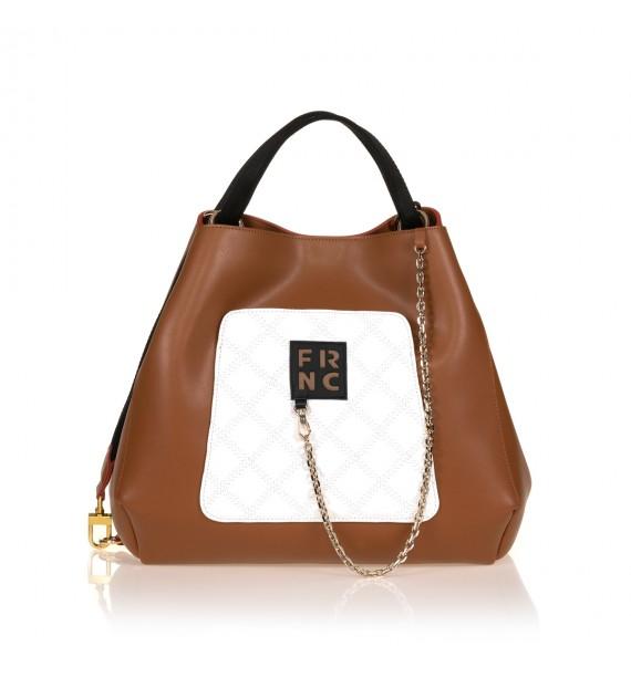 FRNC 905 τσάντα χειρός - ώμου με διακοσμητική αλυσίδα, ταμπά - λευκό