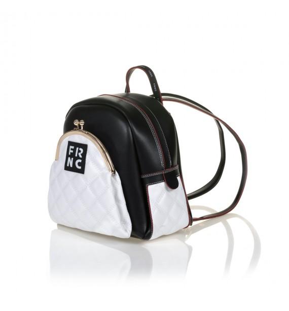 FRNC 906 backpack με εξωτερική τσέπη, μαύρο - λευκό