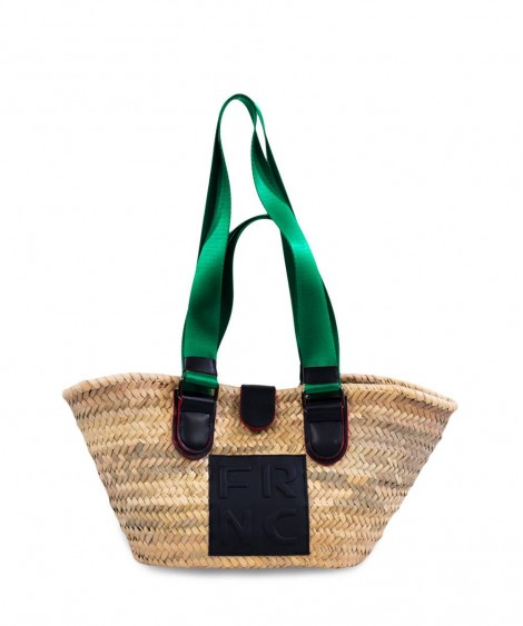 FRNC μικρή ψάθινη τσάντα ώμου πράσινοι ιμάντες-φυσική