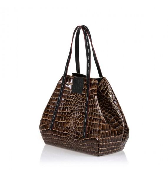 FRNC 1422 τσάντα χειρός-ώμου καφέ.